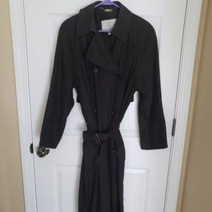 London Fog double breasted black trench coat